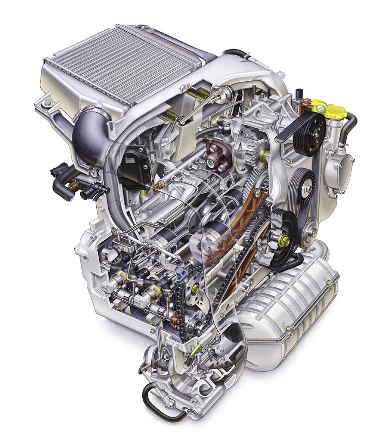 図◎欧州向け水平対向ターボディーゼルエンジン 図◎欧州向け水平対向ターボディーゼルエンジン 閉じ