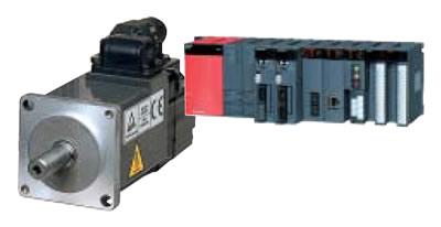 名古屋製作所で製造するサーボモーター(左)と、製造設備から状況を送信するための通信装置(右)