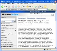 "米Microsoftの<a href=""http://www.microsoft.com/technet/security/advisory/914457.mspx"" target=_blank>Security Advisory</a>"