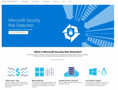 「Microsoft Security Risk Detection」のWebサイト