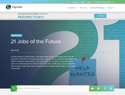 「21 Jobs of the Future」のWebサイト