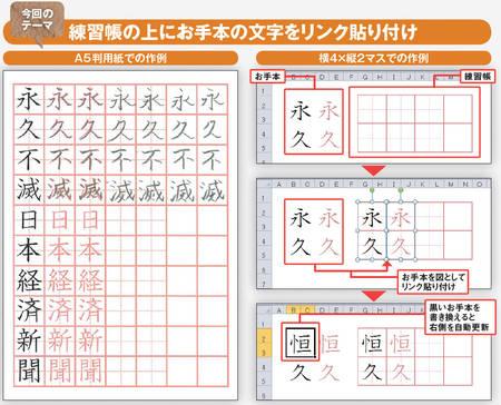 図 1 excel で 文字 の 練習 帳 を ...