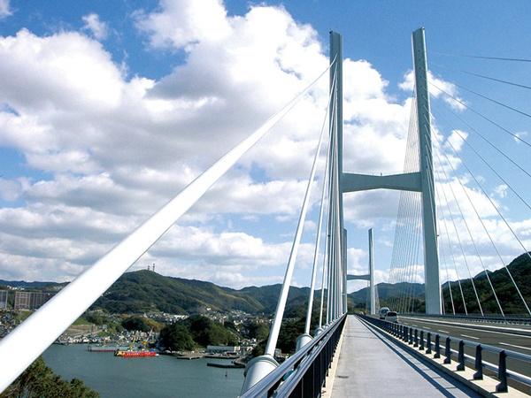 制振ダンパーが採用されている長崎港の港口に架かる女神大橋。橋長は880m