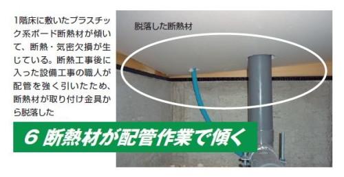 断熱材が配管作業で傾く(写真:カノム)