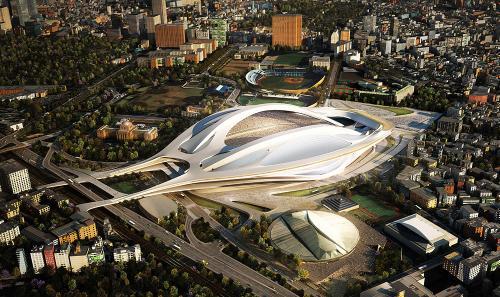 2012年11月の国際デザイン・コンクールで最優秀賞に選ばれた時点でのザハ・ハディド・アーキテクツの案。北西側から見る(資料:日本スポーツ振興センター)