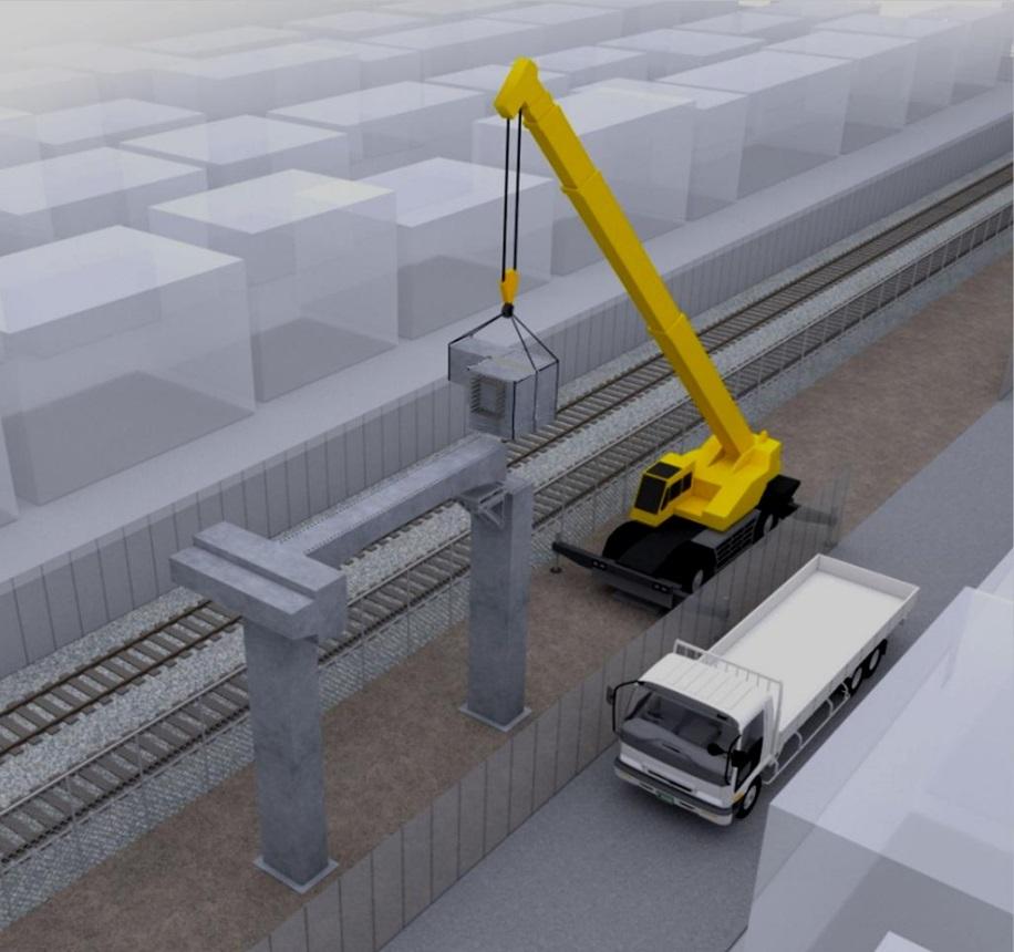 鉄道高架橋をフルプレキャスト化